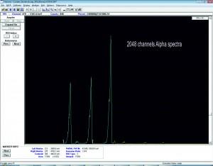 Спектър на алфа източник измерен във вакуумна камера